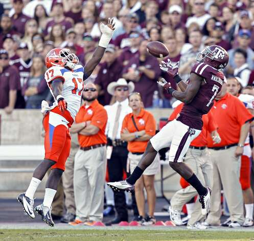 COLLEGE STATION, TX - NOVEMBER 17: Uzoma Nwachukwu #7 of the Texas A&M Aggies completes a catch as he beats Bookie Sneed #17 of the Sam Houston State Bearkats on the play at Kyle Field on November 17, 2012 in College Station, Texas. (Photo by Bob Levey/Getty Images) (Getty Images)