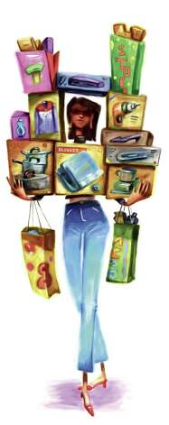 300 dpi Tim Lee illustration of secret shopper loaded down with products. Can be used with stories about mystery shoppers testing service, products. The News & Observer (Raleigh, N.C.) 2007  04000000, FIN, krtbusiness business, krtnational national, krtworld world, krt, mctillustration, 04007005, krtconsumergoods consumer goods, krtintlbusiness, krtnamer north america, krtusbusiness, retail, u.s. us united states, ra contributed, birthday, gift, krtchristmas christmas, krtxmas xmas, lee, mystery shopper, package, present, secret shopper, 2007, krt2007 Photo: Lee / The News & Observer (Raleigh, N.C.)