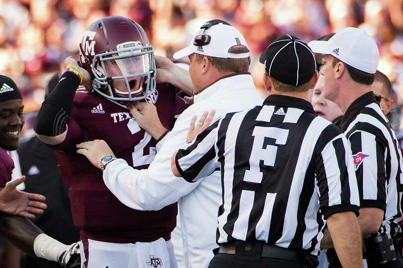 Texas A&M quarterback Johnny Manziel (2) yells toward officials after taking a late hit against Sam