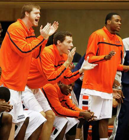 The UTSA bench cheers on its team during first half action against South Carolina Upstate at UTSA's Convocation Center on Saturday, Nov. 17, 2012. MICHAEL MILLER / FOR THE EXPRESS-NEWS Photo: Michael Miller, Express-News / © San Antonio Express-News