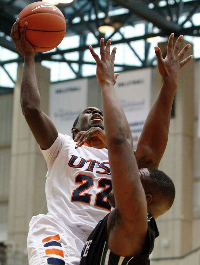 UTSA's Kannon Burrage shoots over the South Carolina Upstate defense during first half action at UTSA's Convocation Center on Saturday, Nov. 17, 2012. MICHAEL MILLER / FOR THE EXPRESS-NEWS Photo: Michael Miller, Express-News / © San Antonio Express-News
