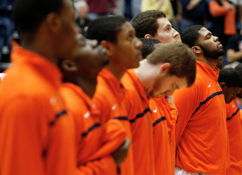 UTSA's team lines up for the national anthem before a game against South Carolina Upstate at UTSA's Convocation Center on Saturday, Nov. 17, 2012. MICHAEL MILLER / FOR THE EXPRESS-NEWS Photo: Michael Miller, Express-News / © San Antonio Express-News