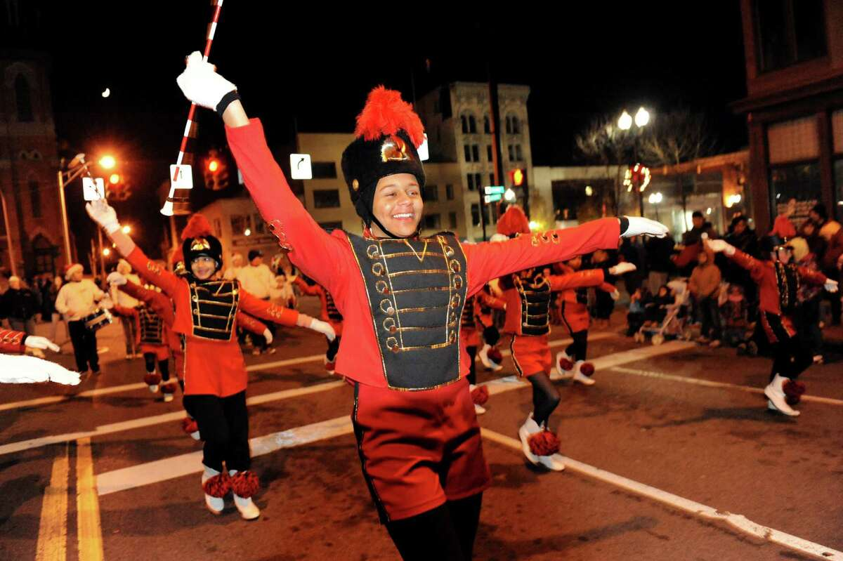 Erica Harold, center, performs with the Merritt Dance Center in the annual Gazette Holiday Parade on Saturday, Nov. 17, 2012, in Schenectady, N.Y. (Cindy Schultz / Times Union)