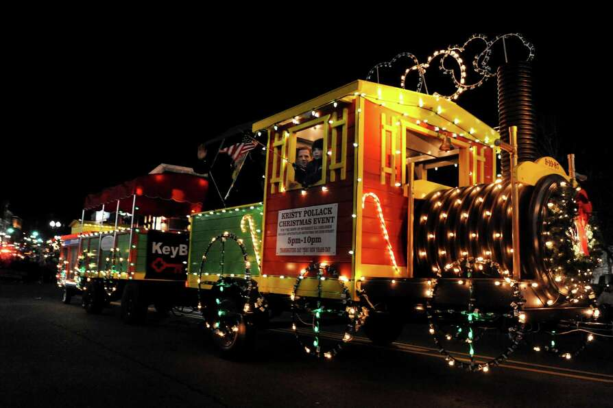 A brightly-lit float is part of the annual Gazette Holiday Parade on Saturday, Nov. 17, 2012, in Sch