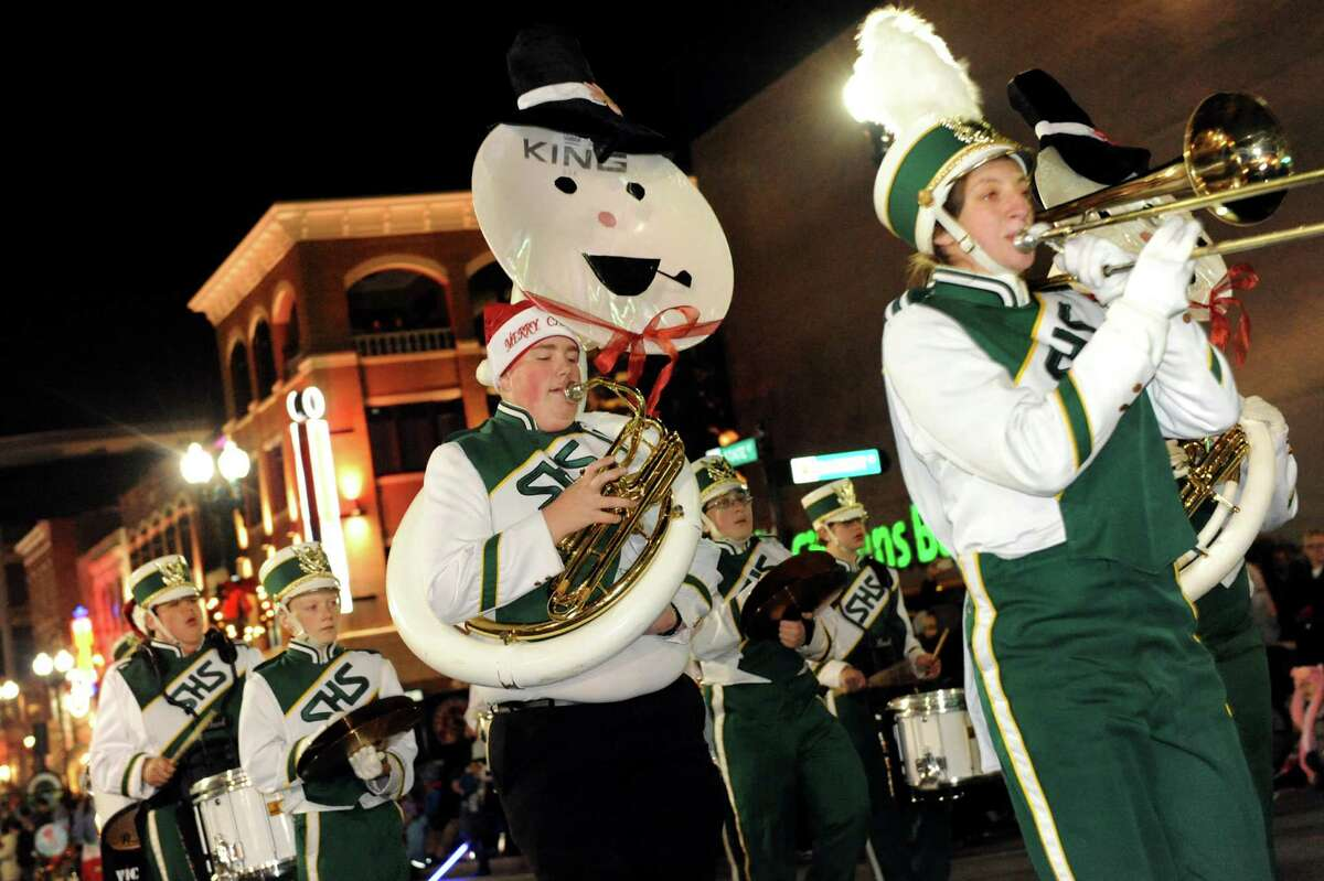 The Schalmont High School marching band participants in the annual Gazette Holiday Parade on Saturday, Nov. 17, 2012, in Schenectady, N.Y. (Cindy Schultz / Times Union)