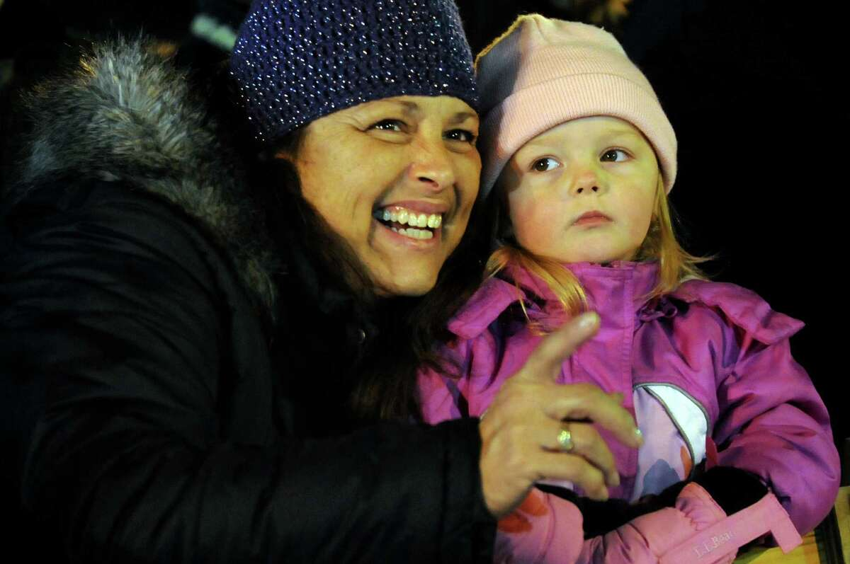 Debbie Catuccio of Charleton and her granddaughter Giuliana, 2, watch the annual Gazette Holiday Parade on Saturday, Nov. 17, 2012, in Schenectady, N.Y. (Cindy Schultz / Times Union)