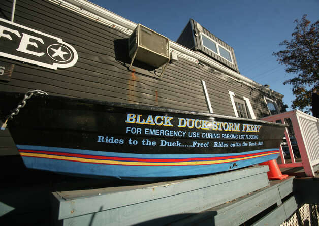 The Black Duck Cafe, open for business after Hurricane Sandy, on the Saugatuck River in Westport on Wednesday, November 14, 2012. Photo: Brian A. Pounds / Connecticut Post