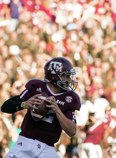 Texas A&M quarterback Johnny Manziel (2) looks to pass against Sam Houston State during the first ha