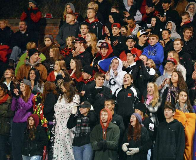 Glens Falls fans celebrate their win over Marlboro High of the Class B state semifinal football game