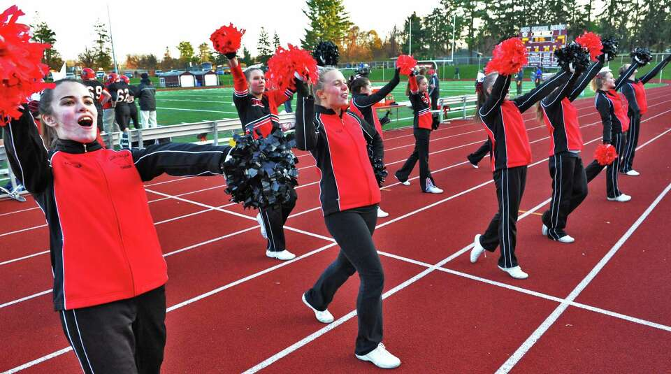 Glens Falls cheerleaders during the Class B state semifinal football game against Marlboro High at D