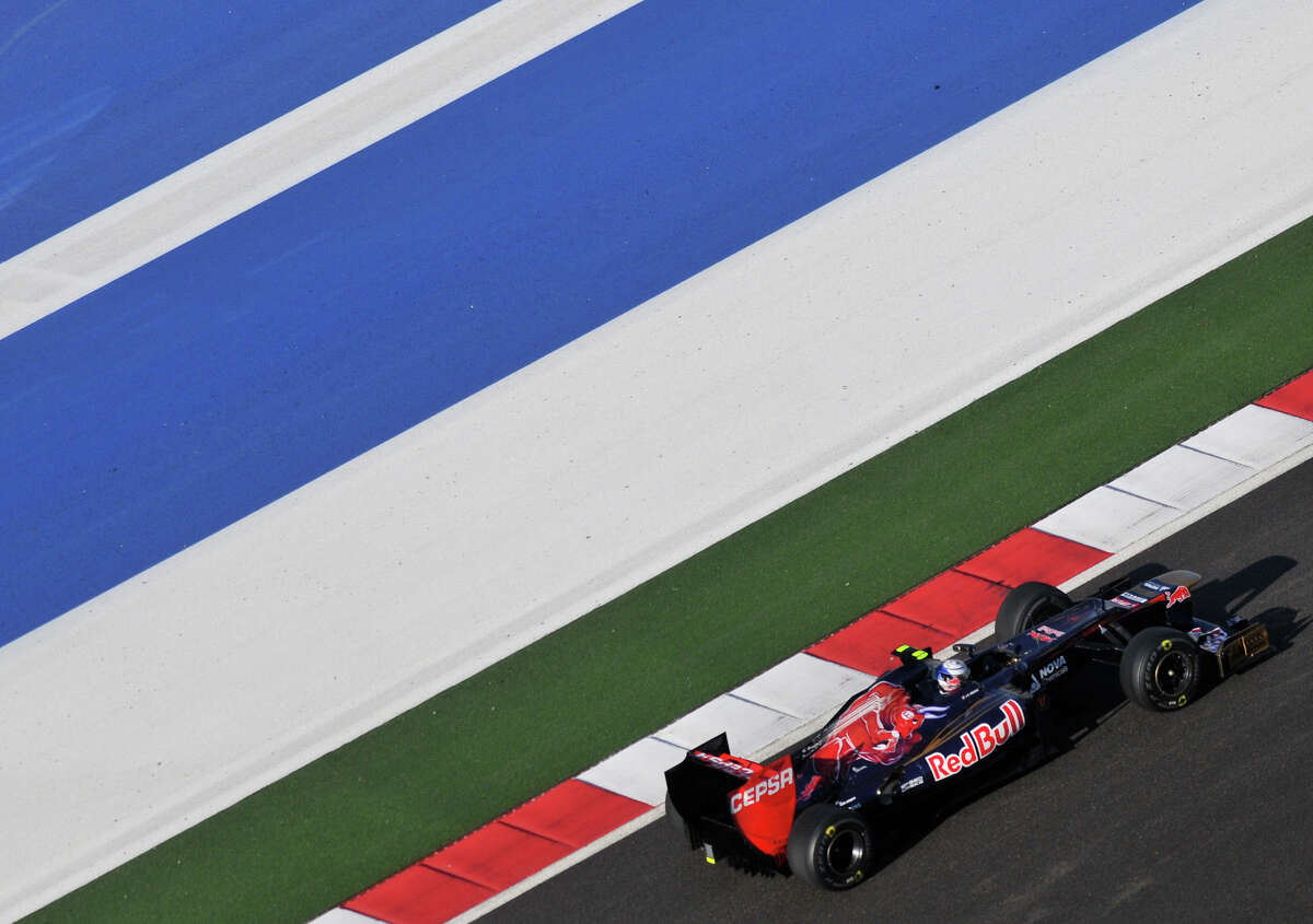 The Toro Rosso of Jean-Eric Verne practices Saturday at the Circuit of the America's in Austin.
