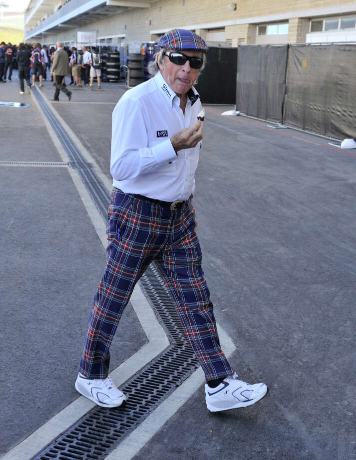 Former Formula 1 World Champion Sir Jackie Stewart sports his signature Scottish tartan Saturday at the Circuit of the America's in Austin. Photo:  Robin Jerstad/For The Express-News