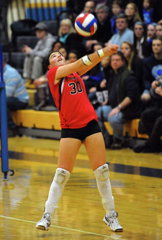 Class LL girls volleyball championship action between Cheshire and Darien in East Haven, Conn. on Saturday November 17, 2012. Photo: Christian Abraham / Connecticut Post