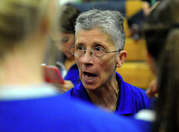 Darien Head Coach Laurie LaRusso, during Class LL girls volleyball championship action in East Haven, Conn. on Saturday November 17, 2012. Photo: Christian Abraham / Connecticut Post