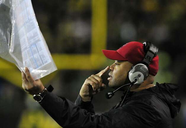 EUGENE, OR - NOVEMBER 17: Head coach David Shaw of the Stanford Cardinal siganals in a play from the sidelines during the first quarter of the game against the Oregon Ducks at Autzen Stadium on November 17, 2012 in Eugene, Oregon. (Photo by Steve Dykes/Getty Images) Photo: Steve Dykes, Getty Images