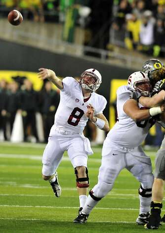 EUGENE, OR - NOVEMBER 17: Quarterback Kevin Hogan #8 of the Stanford Cardinal passes the ball during the first quarter of the game against the Oregon Ducks at Autzen Stadium on November 17, 2012 in Eugene, Oregon. (Photo by Steve Dykes/Getty Images) Photo: Steve Dykes, Getty Images