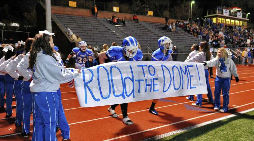 Shaker blue bisons take the field for their Class AA state semifinal game against New Rochelle   at