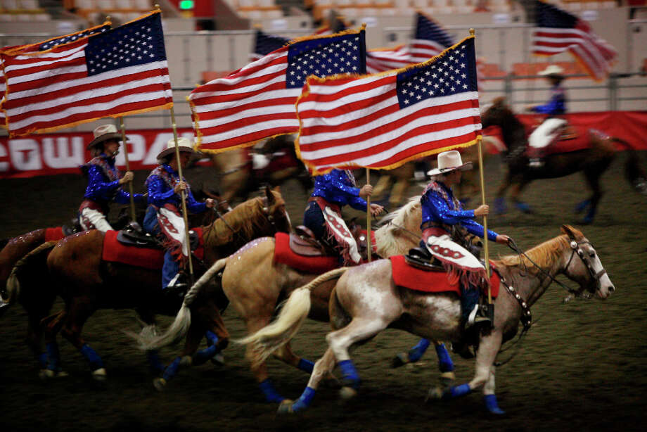 The California Cowgirls compete at The Grand National Drill Team Jackpot. Photo: Mike Kepka, The Chronicle / ONLINE_YES