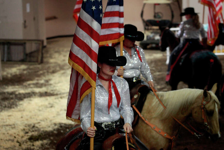 The Petaluma Senior Drill Team lines up for competition at The Grand National Drill Team Jackpot. Photo: Mike Kepka, The Chronicle / ONLINE_YES