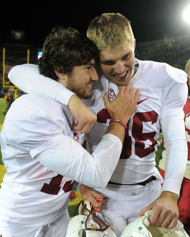 EUGENE, OR - NOVEMBER 17: Kicker Jordan Williamson #19 celebrates with punter Daniel Zychlinski #36 of the Stanford Cardinal after kicking the winning field goal of the game against the Oregon Ducks at Autzen Stadium on November 17, 2012 in Eugene, Oregon. Stanford won the game 17-14 in overtime. (Photo by Steve Dykes/Getty Images) Photo: Steve Dykes, Getty Images