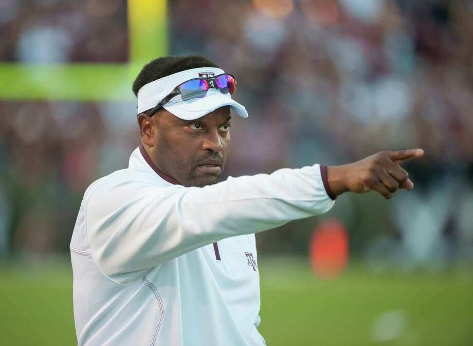 Texas A&M head coach Kevin Sumlin watches play during the third quarter of an NCAA college football game against Sam Houston State, Saturday, Nov. 17, 2012, in College Station, Texas. A&M beat Sam Houston 47-28. (AP Photo/Dave Einsel) Photo: Dave Einsel, Associated Press / FR43584 AP