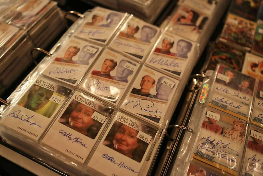 Vendors inside the Colonial Ballroom offered a variety of memorabilia from the Star Trek series, including signed trading cards during the Official Star Trek Convention in San Francisco at the Westin St. Francis. Photo: Rashad Sisemore, The Chronicle