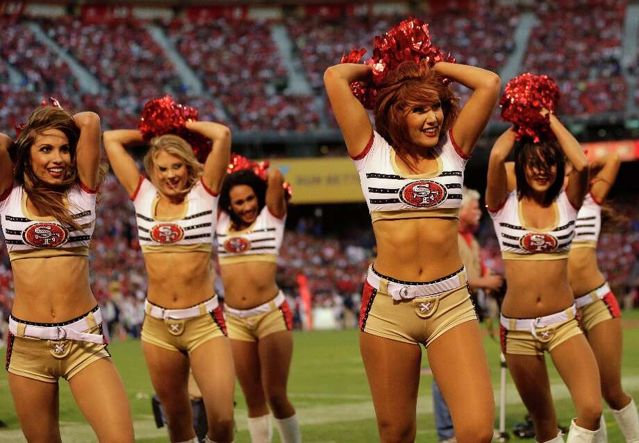 San Francisco 49ers cheerleaders perform during the first half of an NFL football game against the Seattle Seahawks in San Francisco, Thursday, Oct. 18, 2012. Photo: Marcio Jose Sanchez, Associated Press / AP