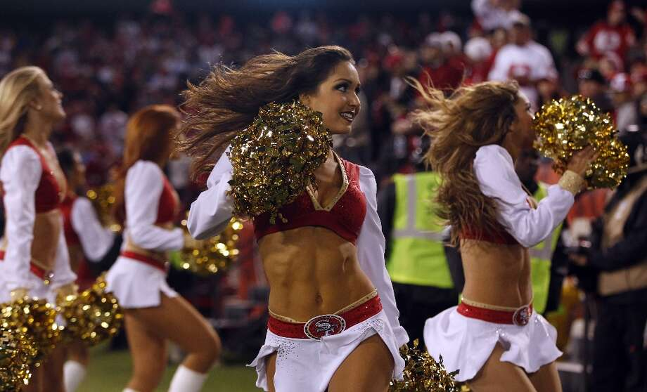 The San Francisco Gold Rush cheerleaders entertain the crowd as the 49ers take on the Detroit Lions. Photo: Stephen Lam, The Chronicle / ONLINE_YES