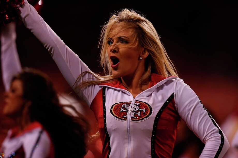 A cheerleader dances during a preseason game between the San Francisco 49ers and the visiting San Diego Chargers at Candlestick Park in San Francisco, Calif. on Thursday, Aug. 30, 2012. Photo: Stephen Lam, Special To The Chronicle / ONLINE_YES