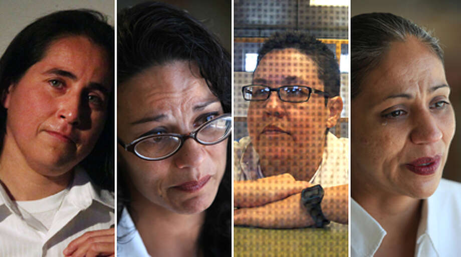 "The San Antonio Express-News investigated the cases of Anna Vasquez (from left), Elizabeth Ramirez, Kristie Mayhugh and Cassandra Rivera, also known as the ""San Antonio Four."" After spending more than a decade in prison for a crime they say never happened, the women, emerged from Bexar County Jail on Monday, Nov. 19, 2013, free to go home. They have maintained their innocence since being accused of sexually assaulting Ramirez's two young nieces nearly 20 years ago. Vasquez was released on parole last year.