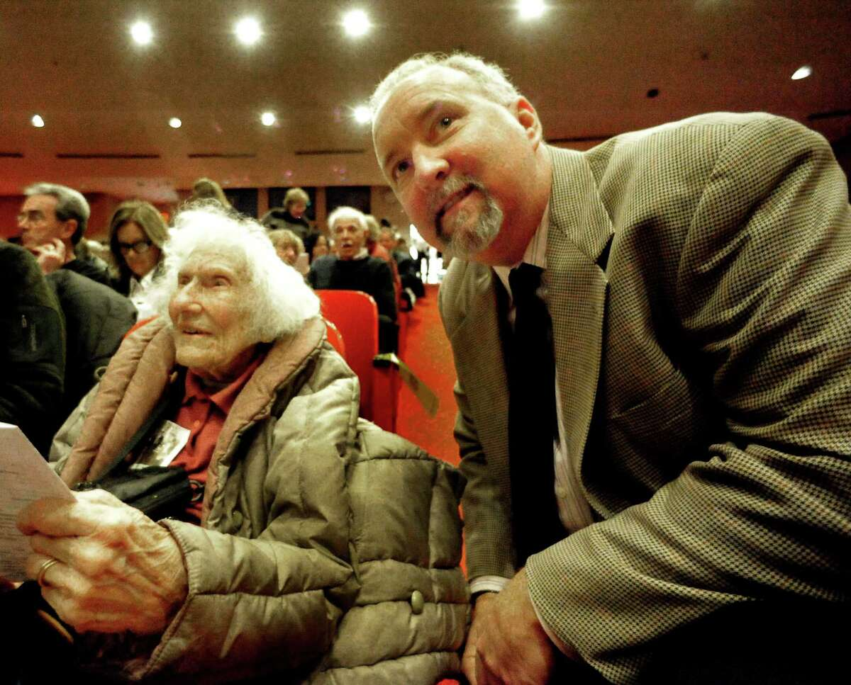 """Lillian Hickock Wentworth, 99, and film maker Scott Sniffin attend a showing of Sniffins film """"Home of the Brave"""" in Southbury Sunday, Nov. 18, 2012. Wentworth is in the film and a member of the family that fought against putting a Nazi training camp in Southbury."""