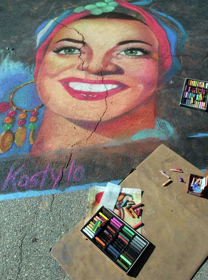 "A chalk art piece titled ""Carmen Miranda"" by Cynthia Kostylo during the Via Colori Street Chalk Art Festival in downtown Nov. 18, 2012, in Houston. Photo: James Nielsen, Chronicle / © Houston Chronicle 2012"