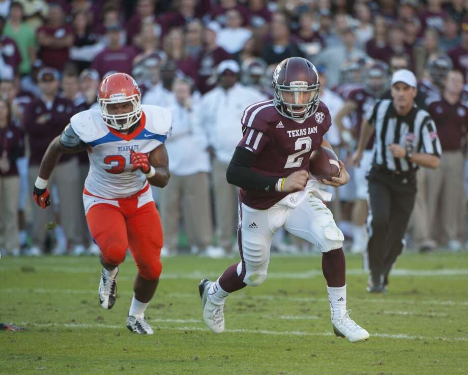 "1. Texas A&M (9-2, next game Saturday vs. Missouri) — Aggies get a chance to renew an old Big 12 rivalry with Missouri with a likely BCS at-large berth looming as long as ""Johnny Football"" keeps ringing up monster numbers. But a tip to Kevin Sumlin: don't let him kick extra points again, please.   (Dave Einsel / Associated Press)"