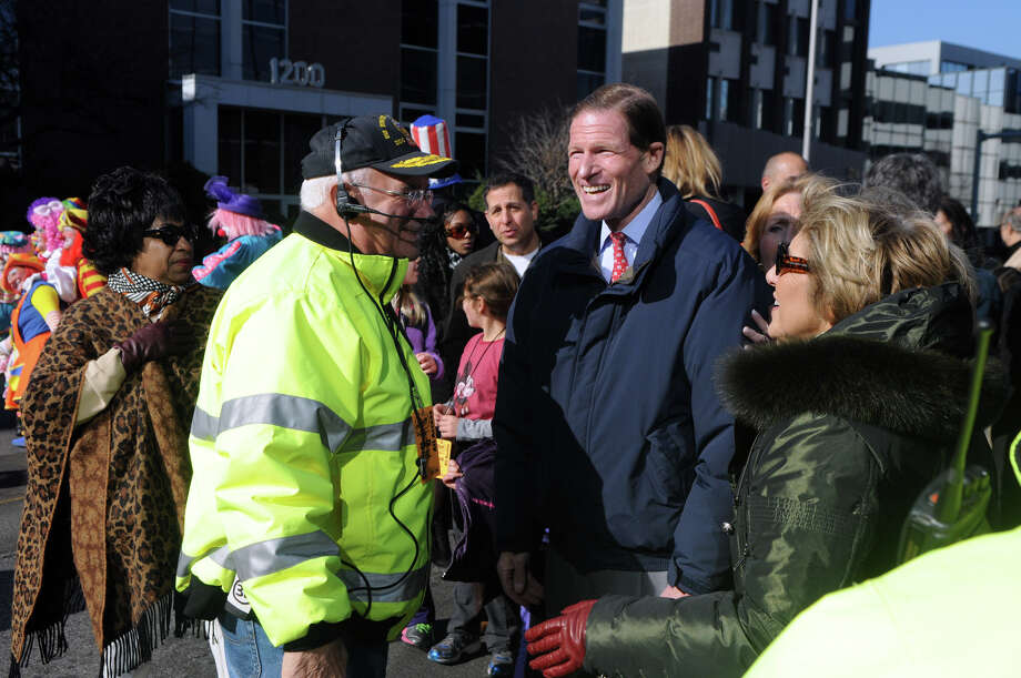 Senator Richard Blumenthal visits with DSSD president Sandy Goldstein and Ernie Orgera during the UBS Parade Spectacular in Stamford, Conn., Nov. 18, 2012. Photo: Keelin Daly / Stamford Advocate Freelance