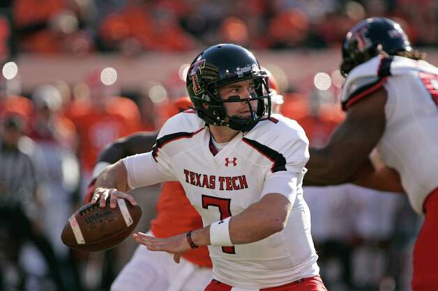 STILLWATER, OK - NOVEMBER 17: Quarterback Seth Doege #7 of the Texas Tech Red Raiders looks to throw against the Oklahoma State Cowboys November 17, 2012 at Boone Pickens Stadium in Stillwater, Oklahoma. Oklahoma State defeated Texas Tech 59-21. (Photo by Brett Deering/Getty Images) Photo: Brett Deering, Wires / 2012 Getty Images