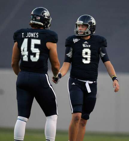 Rice kicker Chris Boswell (9) celebrates a field goal with teammate Trevor Jones during the second half of a Conference USA college football game, Saturday, November 17, 2012 at Rice Stadium in Houston, TX.(Eric Christian Smith/For the Chronicle) Photo: Eric Christian Smith, Wires
