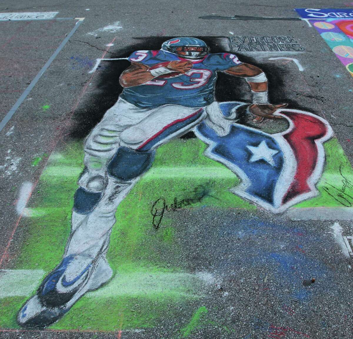 A chalk art piece during the Via Colori Street Chalk Art Festival in downtown Nov. 18, 2012, in Houston.