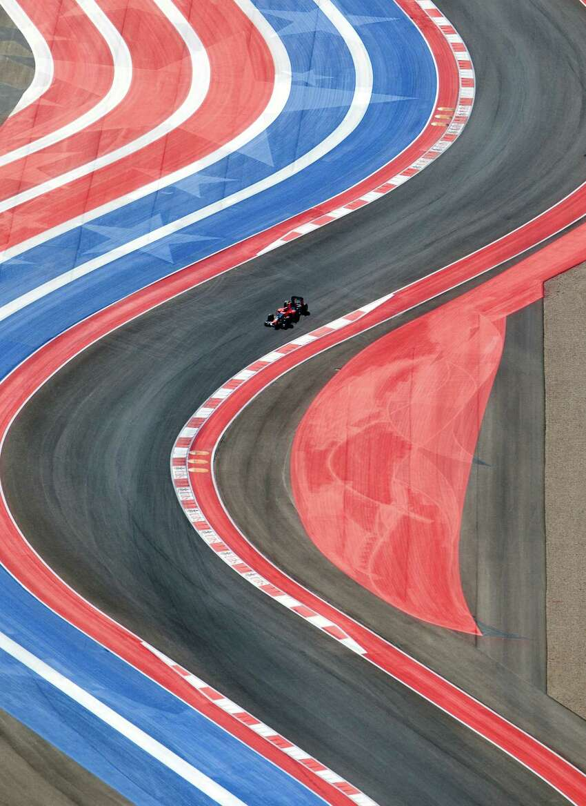 The Circuit of the Americas racetrack is seen Sunday Nov. 18, 2012 in an aerial image taken during the track's inaugural Formula 1 Grand Prix