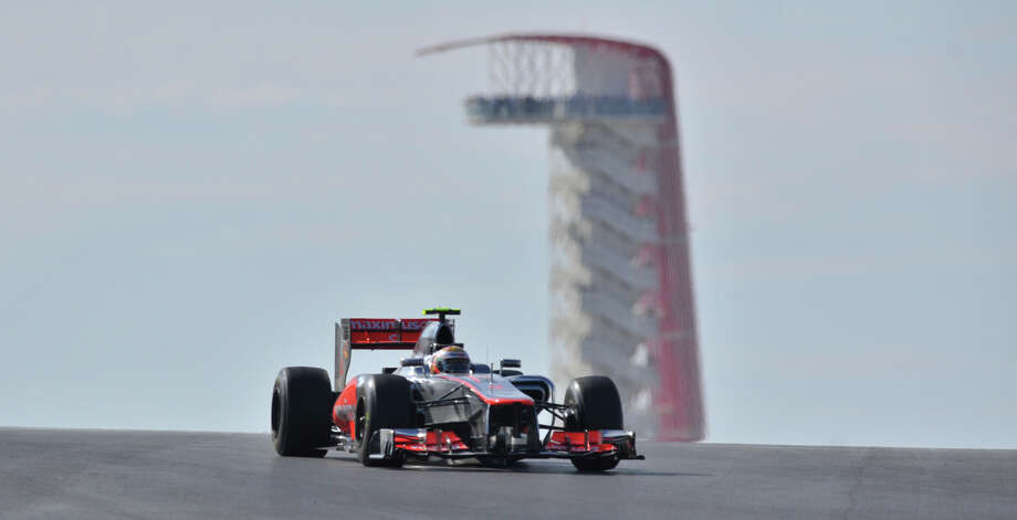 Lewis Hamilton drives toward turn 11 during the United States Grand Prix Sunday at the Circuit of the America's in Austin. Photo: Express-News