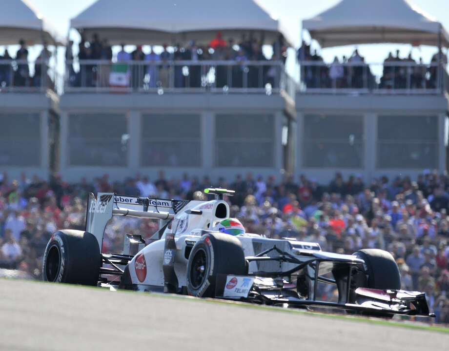 Mexican Sergio Perez heads for turn 2 during the United States Grand Prix Sunday at the Circuit of the America's in Austin. Photo: Express-News