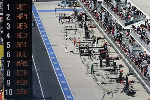 General view of the pitlane during the United States Formula One Grand Prix at the Circuit of the Americas on November 18, 2012 in Austin, Texas. Photo: Mark Thompson, Getty Images / 2012 Getty Images