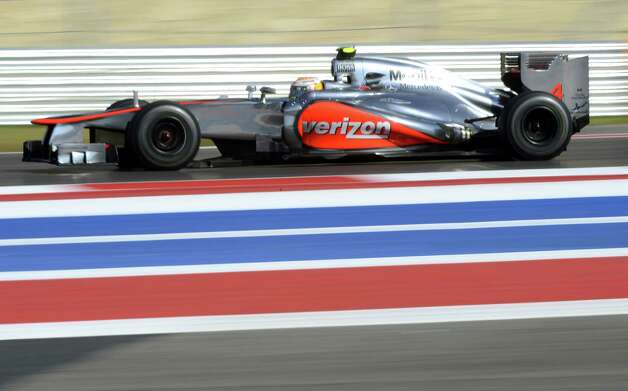 Vodafone McLaren Mercedes driver Lewis Hamilton of Britain on his way to winning the United States Formula One Grand Prix at the Circuit of the Americas on November 18, 2012 in Austin, Texas. AFP PHOTO / TIMOTHY A. CLARYTIMOTHY A. CLARY/AFP/Getty Images Photo: TIMOTHY A. CLARY, Getty Images / AFP