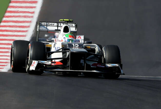 Sauber driver Sergio Perez, of Mexico, steers his car during the Formula One U.S. Grand Prix auto race at the Circuit of the Americas Sunday, Nov. 18, 2012, in Austin, Texas. (AP Photo/Eric Gay) Photo: Eric Gay, Associated Press / AP