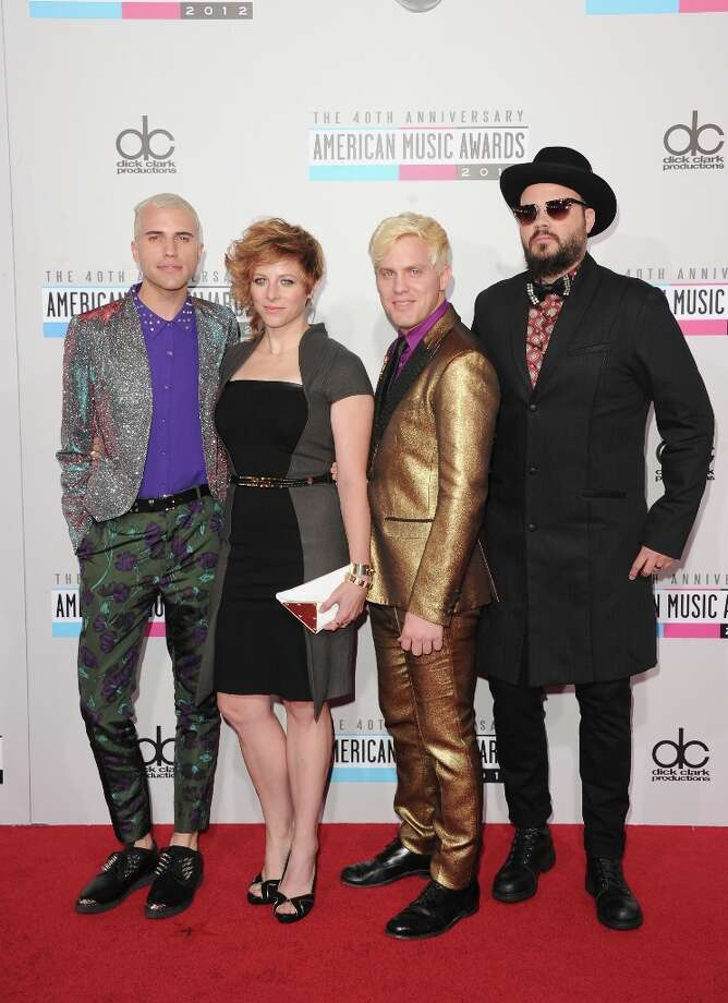 (L-R) Musicians Tyler Glenn, Elaine Bradley, Chris Allen, and Branden Campbell of Neon Trees attend the 40th American Music Awards held at Nokia Theatre L.A. Live on November 18, 2012 in Los Angeles, California.  (Photo by Jason Merritt/Getty Images) Photo: Jason Merritt, Getty Images / 2012 Getty Images