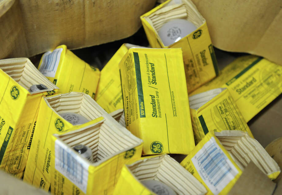 A few of the many boxes where Howard Brandston hoards incandescent light bulbs on Thursday, Nov. 15, 2012 in Claverack, N.Y.  Brandston is a former adjunct professor at RPI's Lighting Institute who has mounted a one-man campaign to save the incandescent bulb. (Lori Van Buren / Times Union) Photo: Lori Van Buren