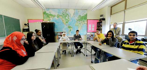 Students speaks to the Times Union about learning English as a second language for Arabic speaking students at Troy High School in Troy, N.Y. Nov 16, 2012.      (Skip Dickstein/Times Union) Photo: Skip Dickstein / 00020028A