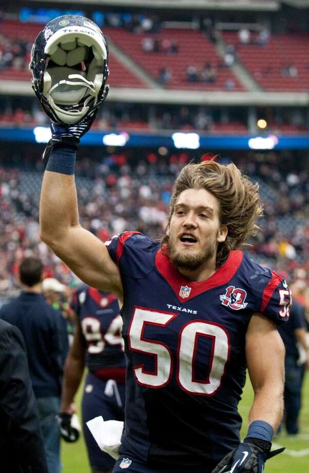 Texans linebacker Bryan Braman celebrates as he leaves the field after the Texans beat the Jaguars in overtime (Brett Coomer / Houston Chronicle)