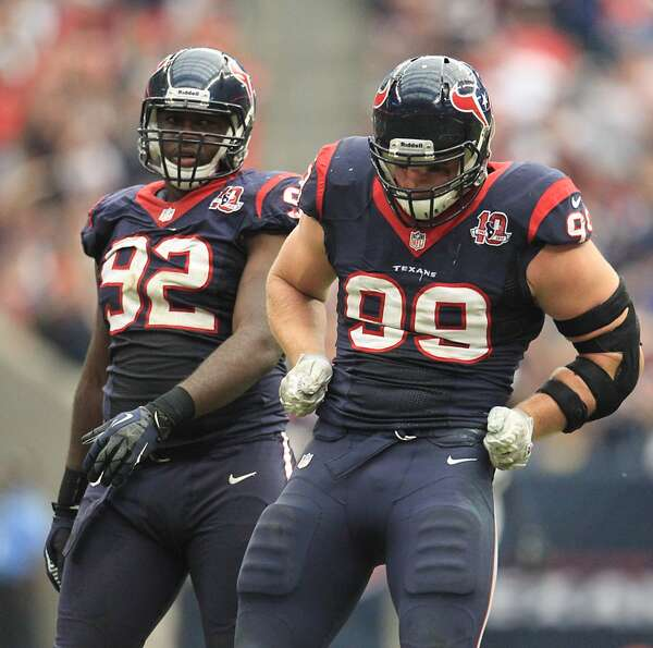 Texans defensive end J.J. Watt (99) celebrates after sacking Jacksonville Jaguars quarterback Chad H