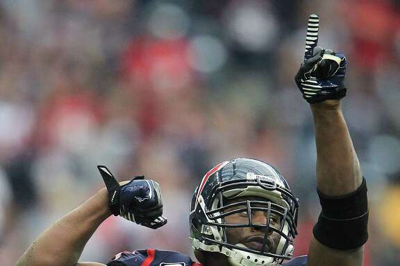 Texans defensive end Antonio Smith (94) reacts after stopping the Jacksonville Jaguars during the fourth quarter.