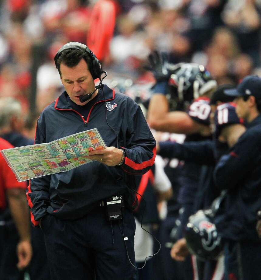 Texans head coach Gary Kubiak paces the sidelines during the first quarter. Photo: Karen Warren, Houston Chronicle / © 2012  Houston Chronicle